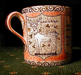 Arthur Midgley's rendering of the Haworth crest painted on a mug ca. 1914.