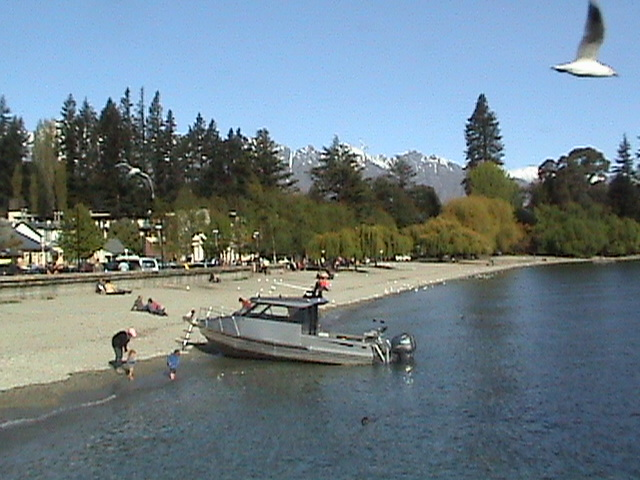 Sunbathing beneath the snows, Queenstown