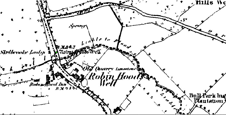 O.S. map 1850's of Robin Hood's Well site