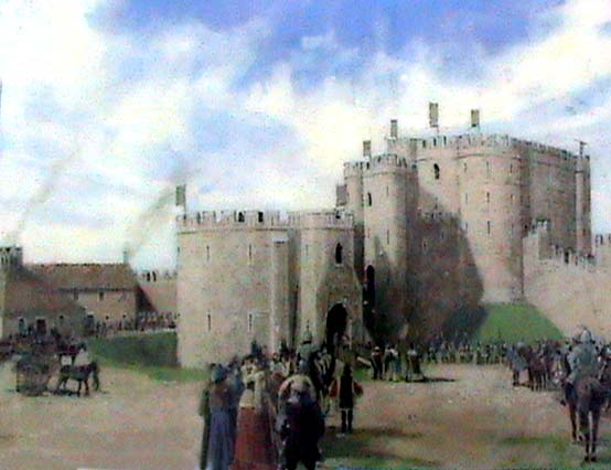 A reconstruction of the keep and barbican about 1300
