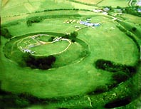 Close up of Old Sarum motte and bailey, the palace lies between the two ditches.