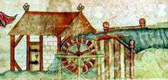 Watermill from the Luttrell Psalter 1320-40